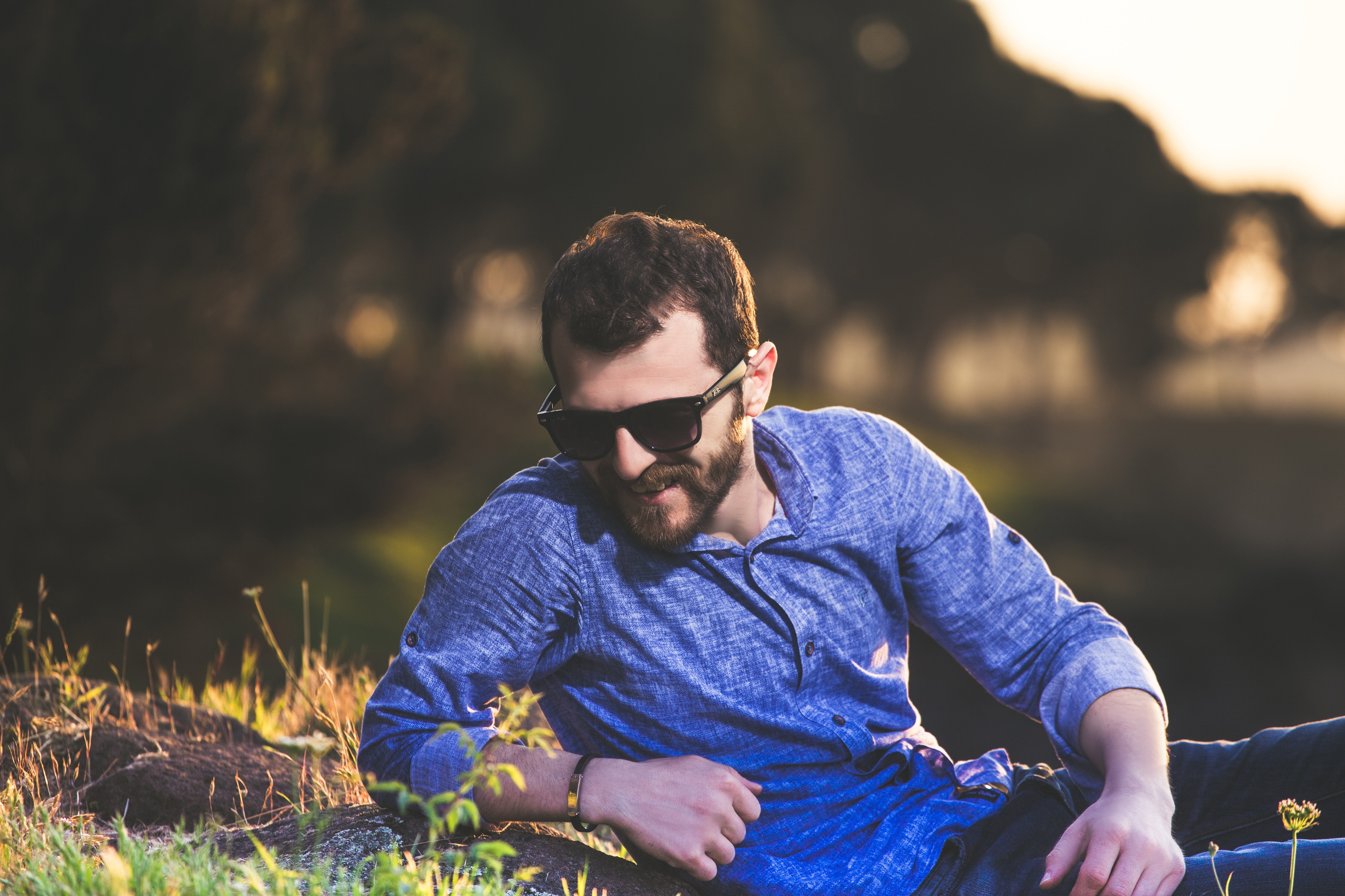 happy hipster with beard
